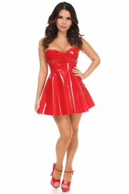 2 PC Red Patent Bustier & Skirt Set - IN STOCK