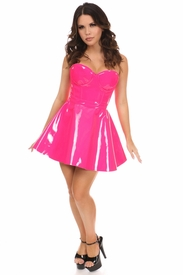 2 PC Hot Pink Patent Bustier & Skirt Set - IN STOCK