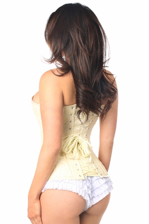 Lavish Ivory Lace Overbust Corset w/Zipper - IN STOCK