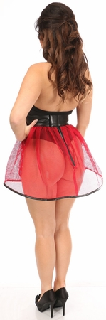 Red Fishnet & Faux Leather Pleated Skirt