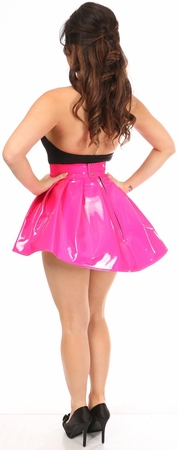 Hot Pink Patent Pleated Skirt