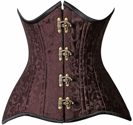 Top Drawer CURVY Brocade Double Steel Boned Under Bust Corset