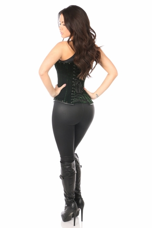 Top Drawer Steel Boned Green Velvet Underbust Corset w/Buckling - IN STOCK
