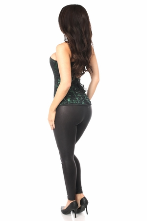 Lavish Green Lace Front Zipper Corset - IN STOCK