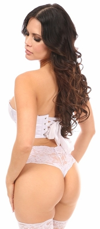 Lavish White Satin Underwire Short Bustier - IN STOCK