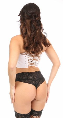 Lavish White Patent Short Bustier Top - IN STOCK