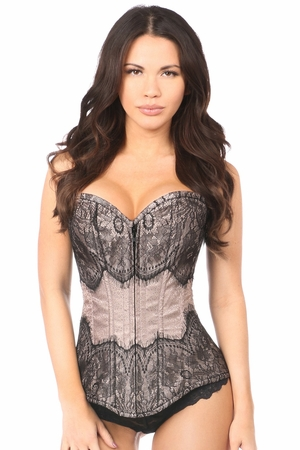 Lavish Gunmetal Brocade w/Black Eyelash Lace Overbust Corset - IN STOCK