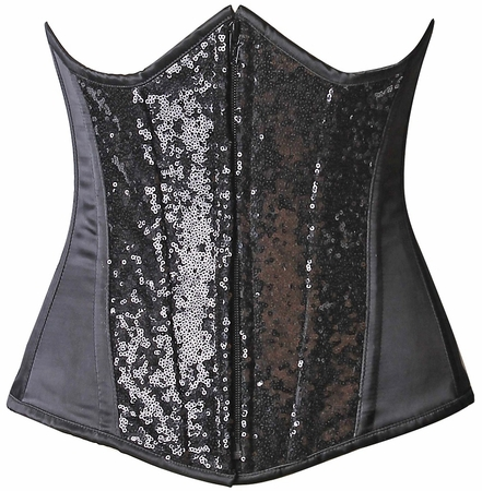 Top Drawer Black Sequin Steel Boned Under Bust Corset