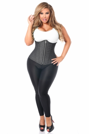 Top Drawer Denim Black Steel Boned Underbust Corset w/Zipper - IN STOCK