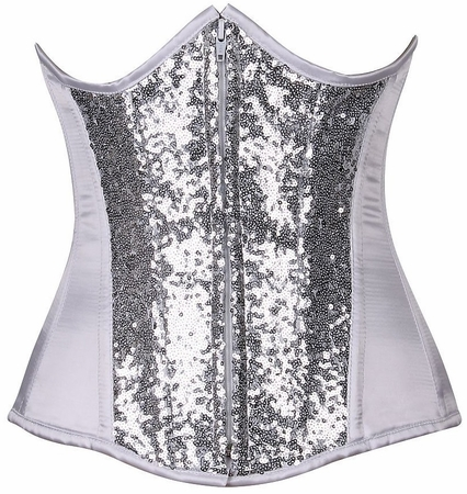 Top Drawer White/Silver Sequin Steel Boned Under Bust Corset
