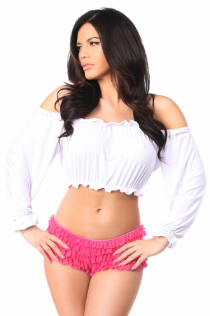 White Long Sleeve Peasant Top - IN STOCK