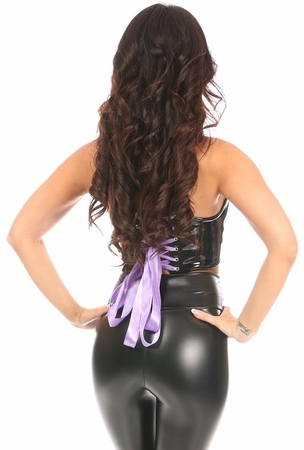 Lavish Black/Lavender Patent Lace-Up Short Bustier Top - IN STOCK