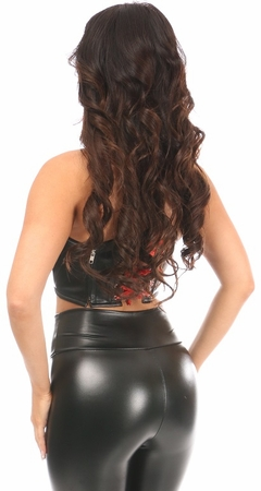 Lavish Black/Red Faux Leather Lace-Up Short Bustier Top - IN STOCK