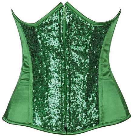 Top Drawer Green Sequin Steel Boned Under Bust Corset