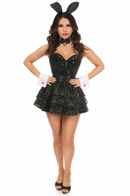 Top Drawer 5 PC Sequin Tuxedo Bunny Corset Costume