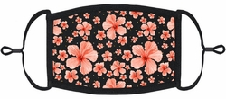 Coral Hibiscus Fabric Face Mask