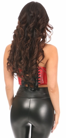 Lavish Red Patent Lace-Up Short Bustier Top - IN STOCK
