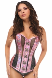 Top Drawer Pink Holo & Black Fishnet Steel Boned Over Bust Corset - IN STOCK