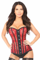 Top Drawer Sheer Red Lace Steel Boned Corset - IN STOCK