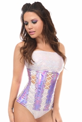Top Drawer Purple Holo Under Bust Corset - IN STOCK
