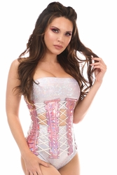 Top Drawer Pink Holo Under Bust Corset w/Lacing all around - ON SALE