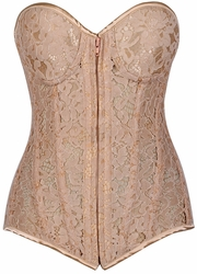 Top Drawer Nude Underwire Sheer Lace Steel Boned Corset - IN STOCK