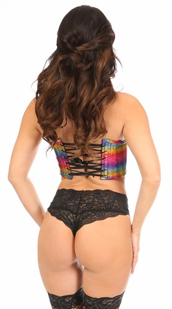 Lavish Rainbow Glitter Short Bustier Top - IN STOCK