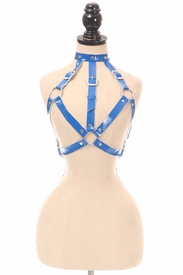 Blue Vegan Leather Body Harness - IN STOCK