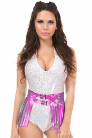 Fuchsia Hologram Fringe Mini Skirt - IN STOCK