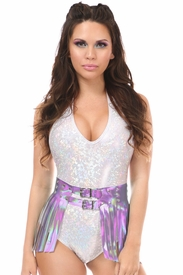 Lavender Hologram Fringe Mini Skirt - IN STOCK