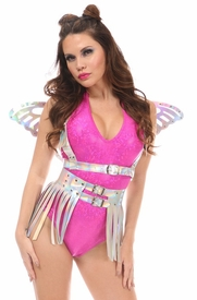 2 PC Silver Holo Harness & Skirt Set - IN STOCK