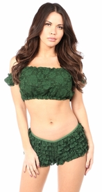 Dark Green Lined Lace Short Sleeve Peasant Top