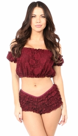 Wine Lined Lace Short Sleeve Peasant Top