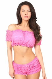 Pink Lined Lace Short Sleeve Peasant Top