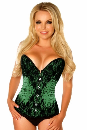 Top Drawer Green Beaded Steel Boned Corset - IN STOCK