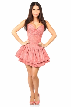 Top Drawer Mauve Lace Steel Boned Ruffle Corset Dress - IN STOCK