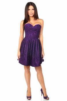 Top Drawer Steel Boned Plum Lace Empire Waist Corset Dress - IN STOCK
