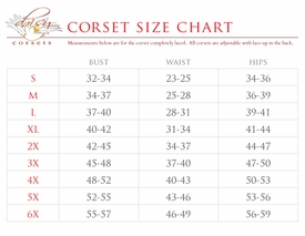 Top Drawer & Lavish Collection Size Chart (ABOVE)