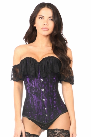 Lavish Purple Lace Off-The-Shoulder Corset - IN STOCK
