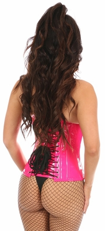 Top Drawer Hot Pink Patent PVC Steel Boned Under Bust Corset - IN STOCK