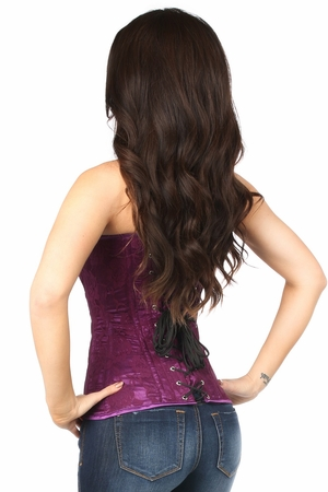 Lavish Magenta Lace Overbust Corset w/Zipper - IN STOCK