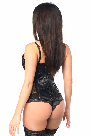 Top Drawer Fishnet & Faux Leather Strappy Steel Boned Corset - IN STOCK