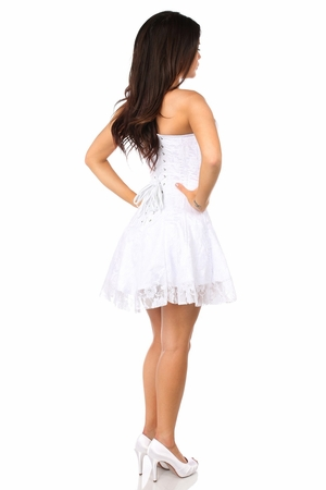 Lavish White Lace Corset Dress - IN STOCK