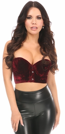 Lavish Dark Red Crushed Velvet Underwire Short Bustier