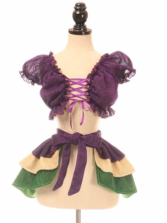 Mardi Gras Glitter Peasant Top & Skirt Set