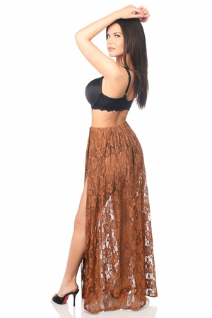 Sheer Brown Lace Skirt - IN STOCK