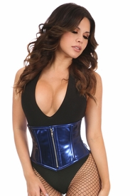 Top Drawer Blue Metallic PVC Steel Boned Mini Cincher