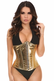 Top Drawer Gold Metallic Steel Boned Under Bust Corset