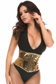 Top Drawer Gold Metallic PVC Steel Boned Mini Cincher