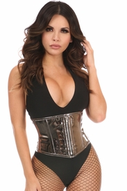 Top Drawer Gunmetal Metallic PVC Steel Boned Mini Cincher